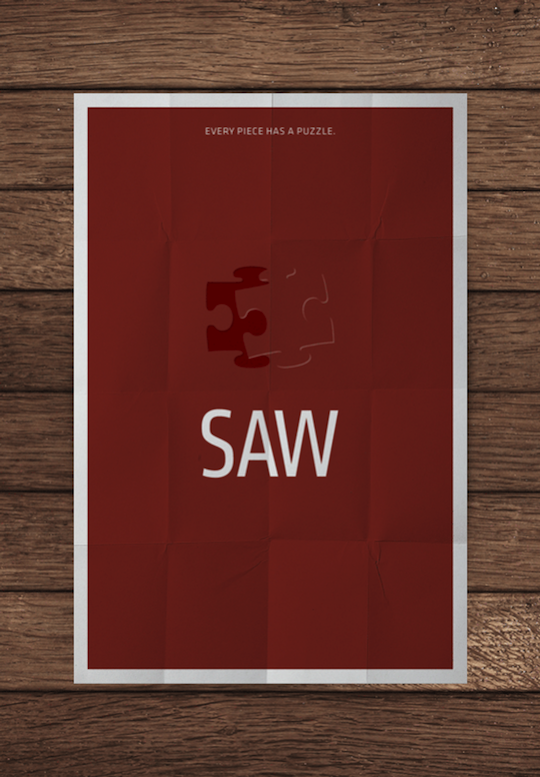 saw minimalistic movie posters