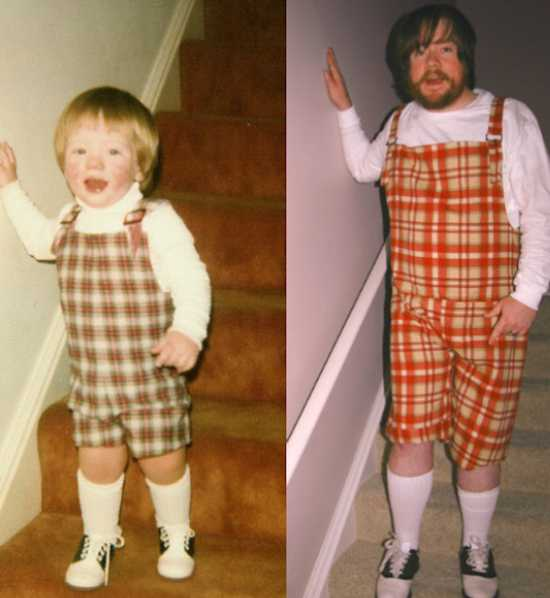 Adults recreating their childhood photos